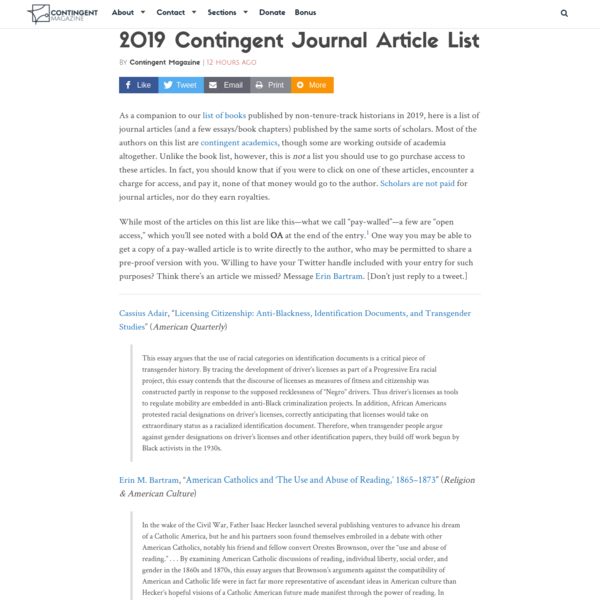 2019 Contingent Journal Article List