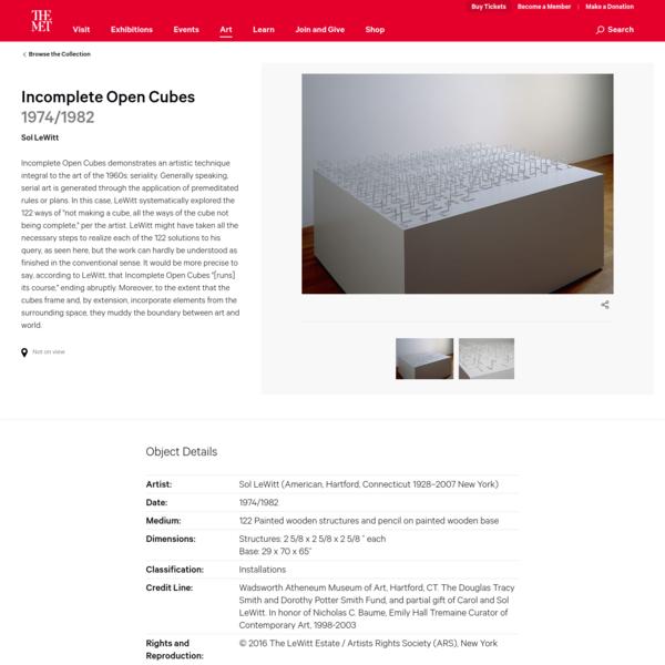 Sol LeWitt | Incomplete Open Cubes | The Met