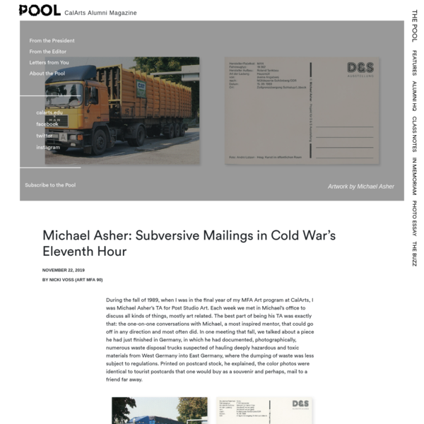 Michael Asher: Subversive Mailings in Cold War's Eleventh Hour