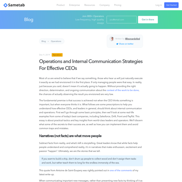 Operations and Internal Communication Strategies For Effective CEOs