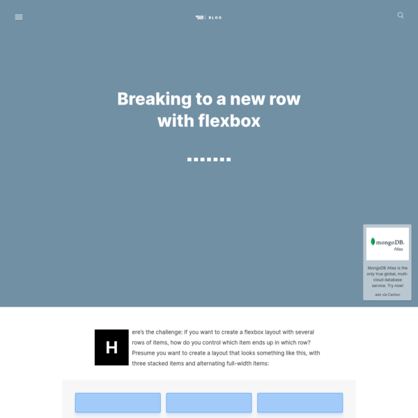 Breaking to a new row with flexbox
