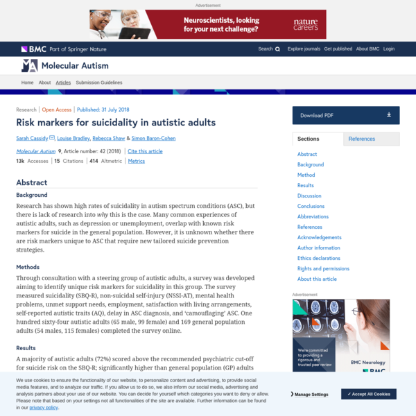 Risk markers for suicidality in autistic adults