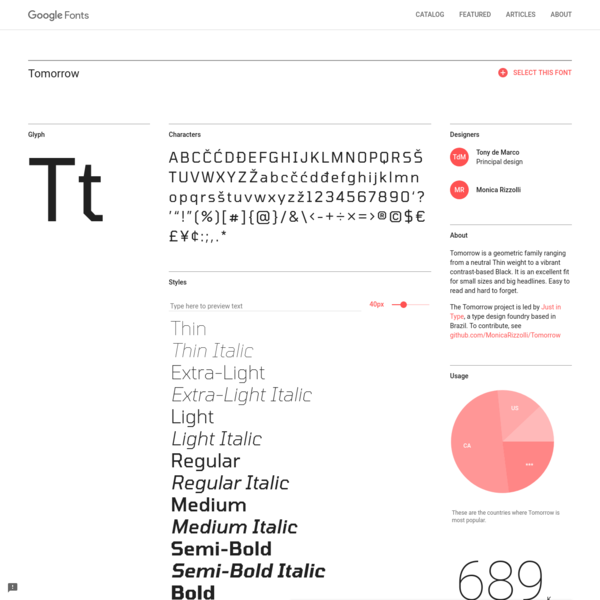 Tomorrow - Google Fonts