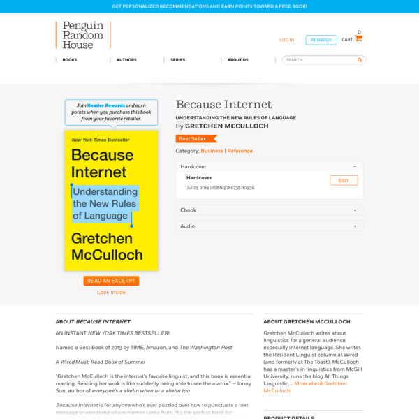 Because Internet by Gretchen McCulloch: 9780735210936 | PenguinRandomHouse.com: Books