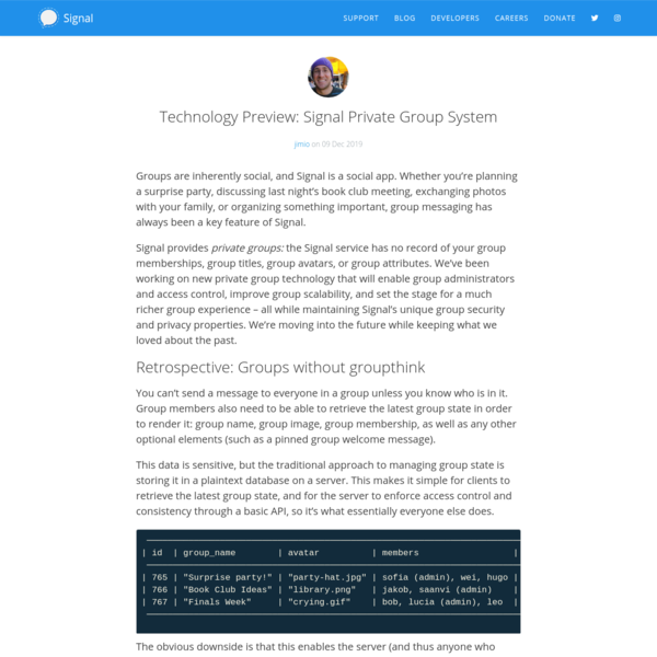 Technology Preview: Signal Private Group System