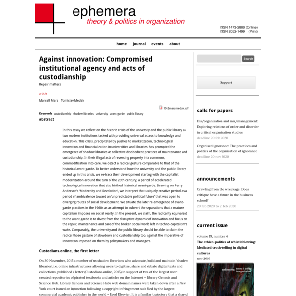 Against innovation: Compromised institutional agency and acts of custodianship