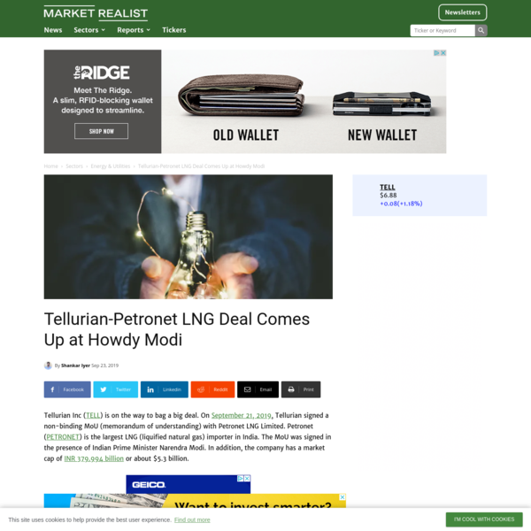 Tellurian-Petronet LNG Deal Comes Up at Howdy Modi - Market Realist