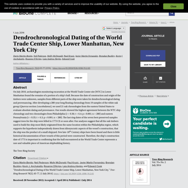 Dendrochronological Dating of the World Trade Center Ship, Lower Manhattan, New York City