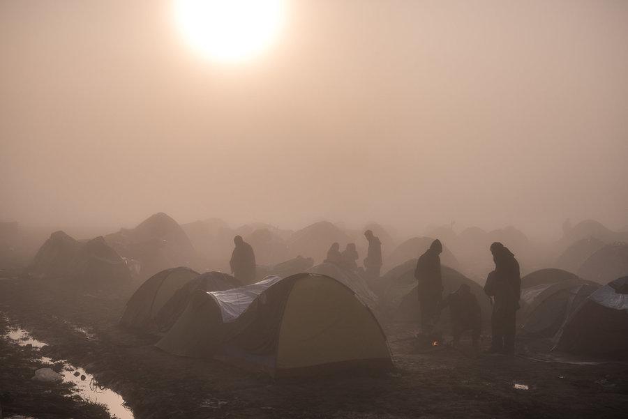 camp of 12,000 refugees in Idomeni, Greece