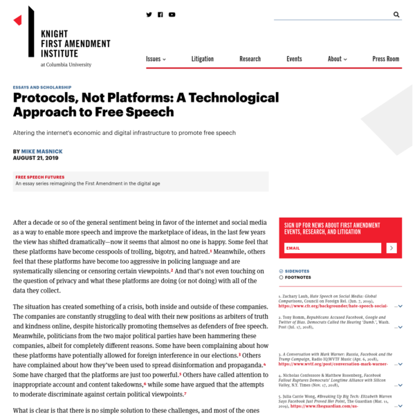 Protocols, Not Platforms: A Technological Approach to Free Speech