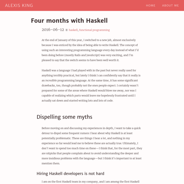 Four months with Haskell