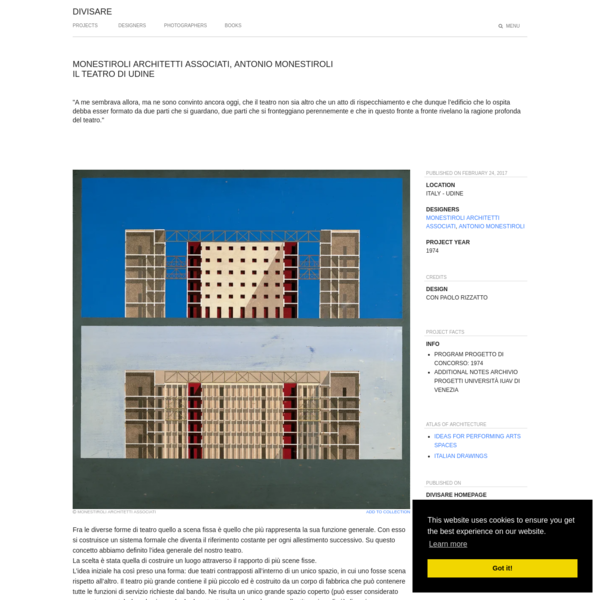 Monestiroli Architetti Associati, Antonio Monestiroli · Il Teatro di Udine