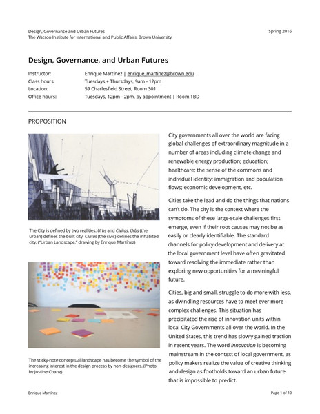 Brown University: Design, Governance, and Urban Futures