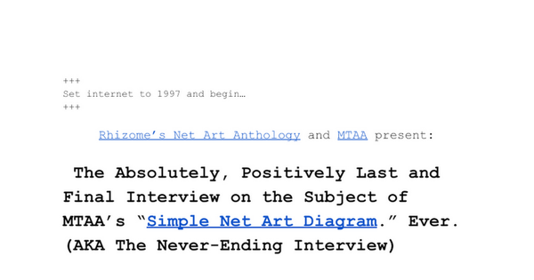 """The Absolutely, Positively Last and Final Interview on the Subject of MTAA's """"Simple Net Art Diagram"""" Ever (AKA The Never-En..."""