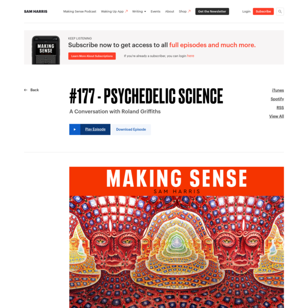 Making Sense Podcast #177 - Psychedelic Science | Sam Harris