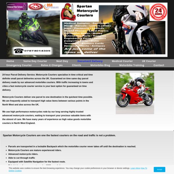 Parcel Motorbike Courier, Warrington, Manchester, Liverpool.