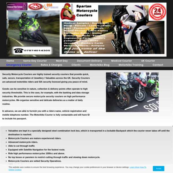 Security Courier, Motorbike Couriers, Warrington, Liverpool, Manchester.
