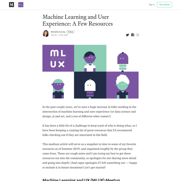 Machine Learning and User Experience: A Few Resources