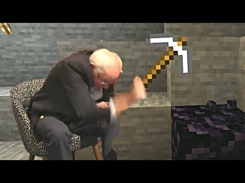 Bernie Sanders mines obsidian with an iron pickaxe in Minecraft