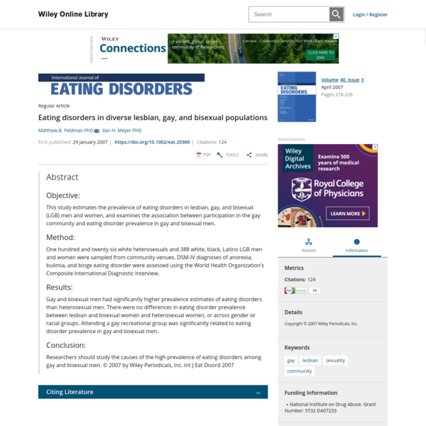 Eating disorders in diverse lesbian, gay, and bisexual populations