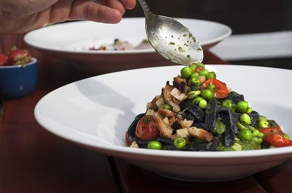 Black scialatielli, spinach and mint cream, roasted cherry tomatoes, green peas, fava beans and lightly spicy bread crumbs. ...