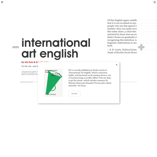 Triple Canopy - International Art English by Alix Rule & David Levine