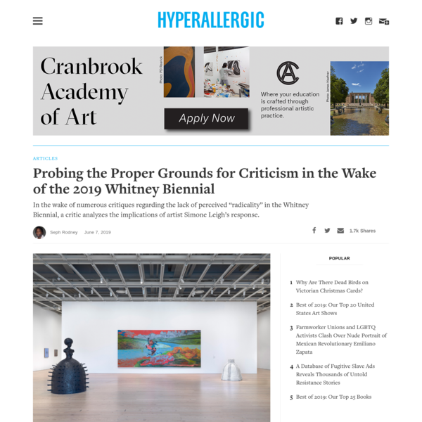 Probing the Proper Grounds for Criticism in the Wake of the 2019 Whitney Biennial
