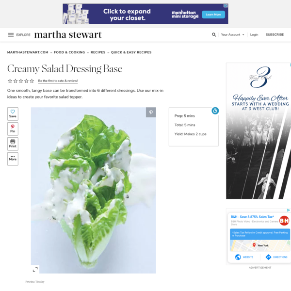 Creamy Salad Dressing Base | Martha Stewart