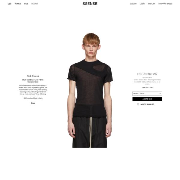 Rick Owens - Black Membrane Level T-Shirt