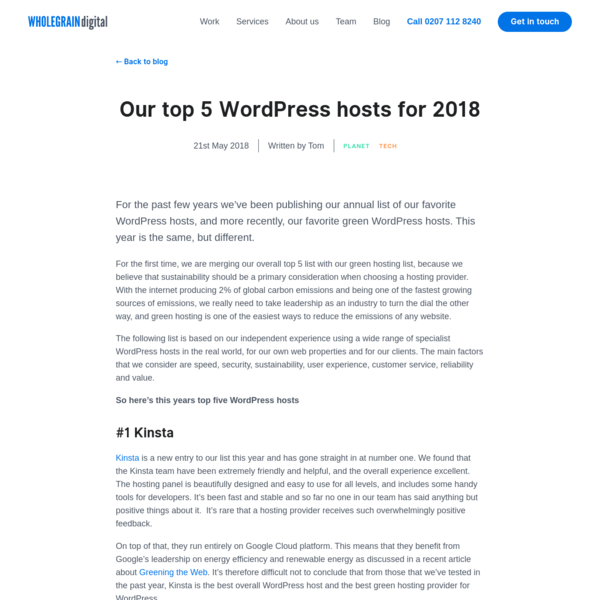 Our top 5 WordPress hosts for 2018