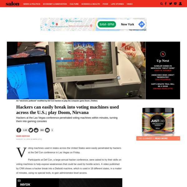 Hackers can easily break into voting machines used across the U.S.; play Doom, Nirvana