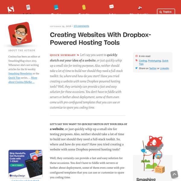 Creating Websites With Dropbox-Powered Hosting Tools - Smashing Magazine