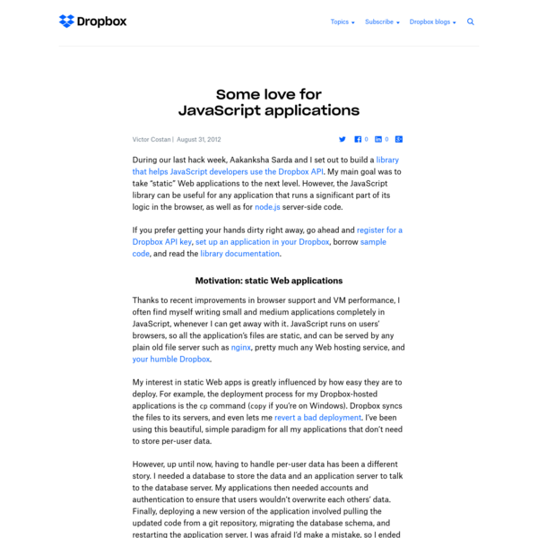 Some love for JavaScript applications