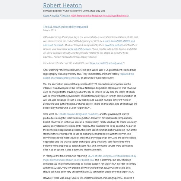 The SSL FREAK vulnerability explained | Robert Heaton