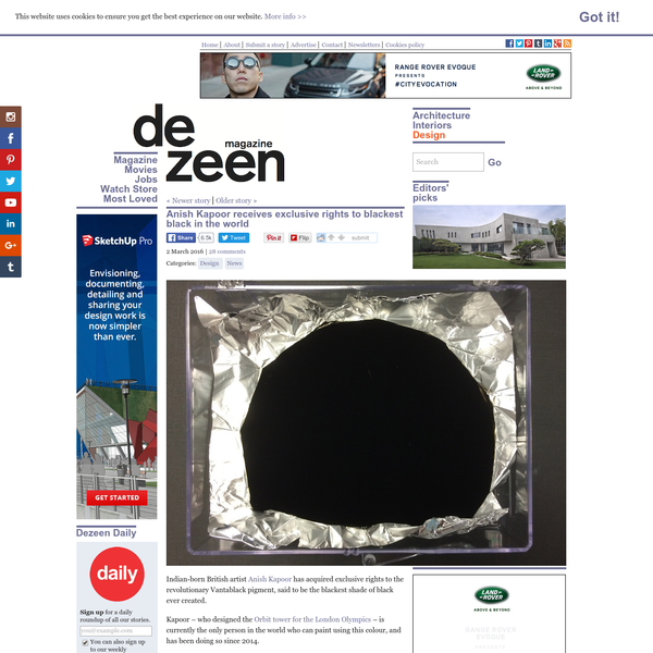 Anish Kapoor receives exclusive rights to blackest pigment