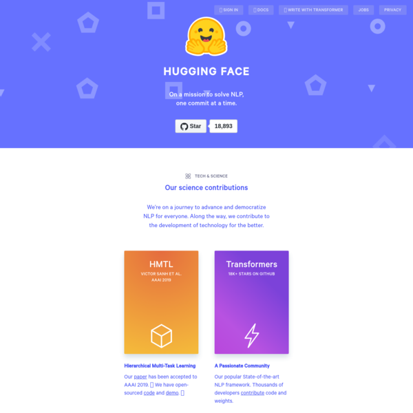 Hugging Face - On a mission to solve NLP, one commit at a time.