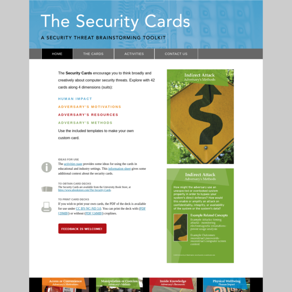 Home   The Security Cards: A Security Threat Brainstorming Kit
