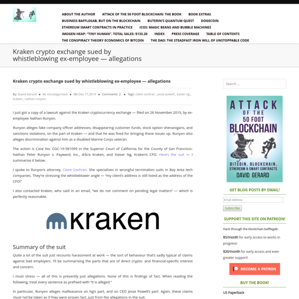 Kraken crypto exchange sued by whistleblowing ex-employee - allegations