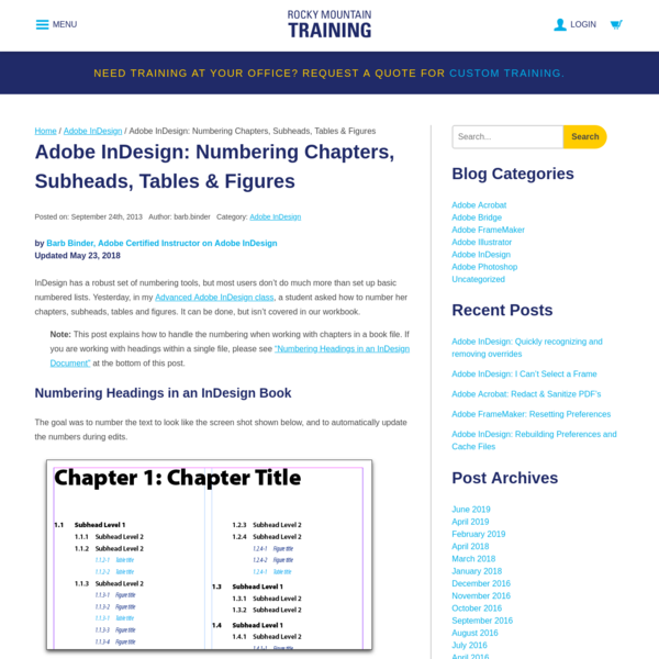 Adobe InDesign: Numbering Chapters, Subheads, Tables & Figures