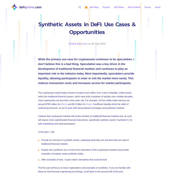 Synthetic Assets in DeFi: Use Cases & Opportunities
