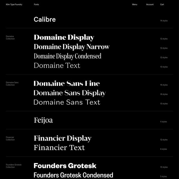 Klim Type Foundry · Retail fonts