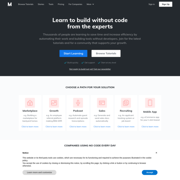 Build & operate businesses without code | Makerpad