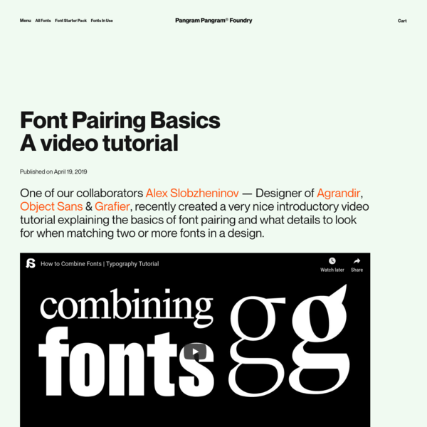 Font Pairing BasicsA video tutorial