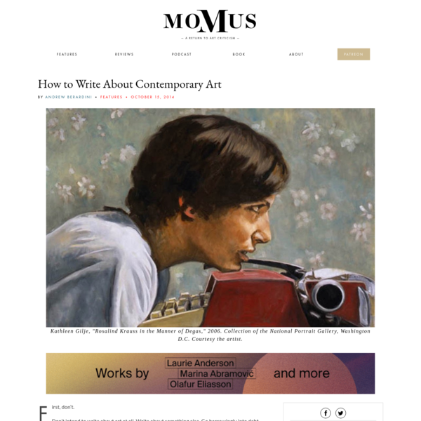 How to Write About Contemporary Art - Momus