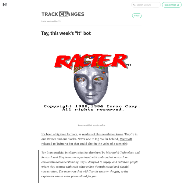"Tay, this week's ""It"" bot - Track Changes"