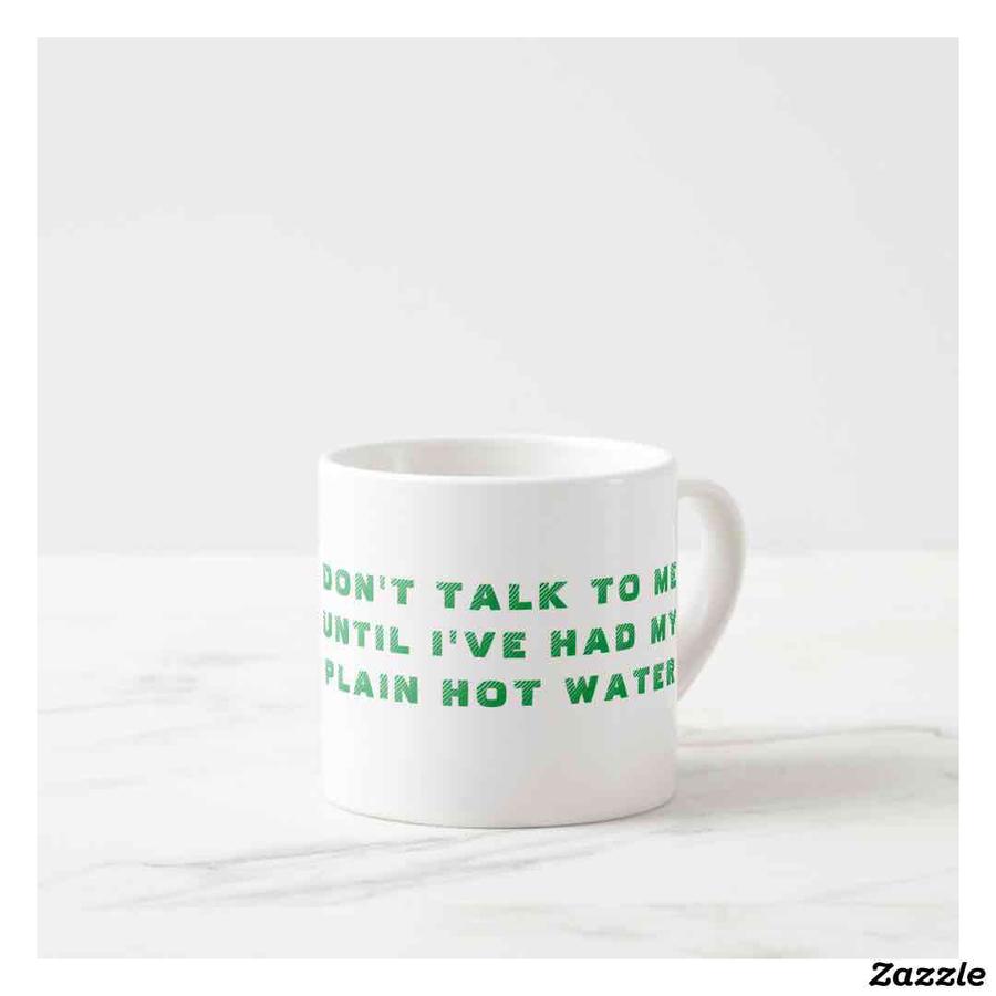 """DON'T TALK TO ME UNTIL I'VE HAD MY PLAIN HOT WATER"" espresso mug 6oz"