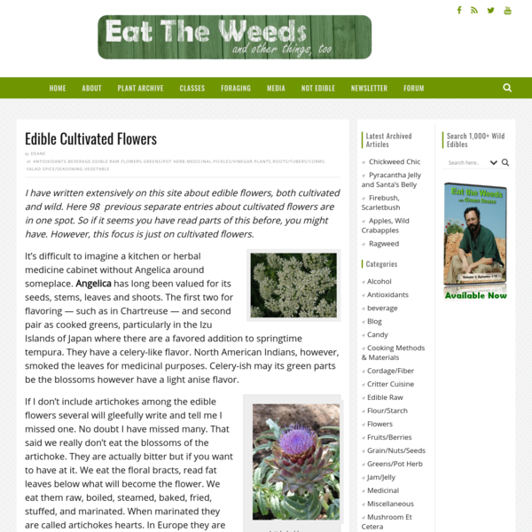 Edible Cultivated Flowers - Eat The Weeds and other things, too