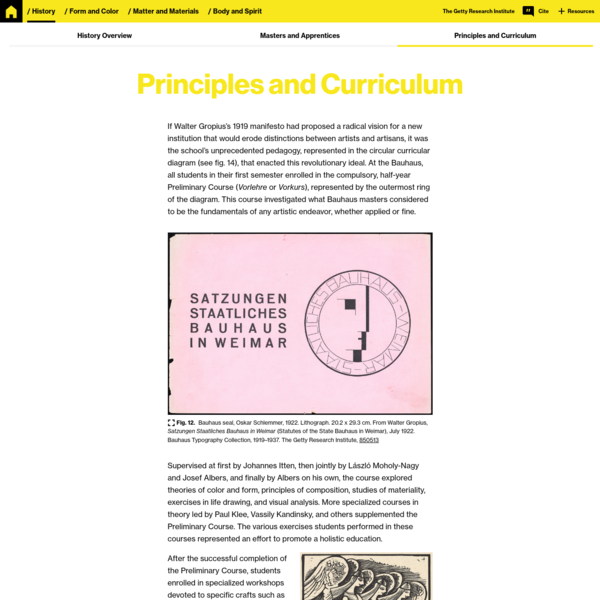 Principles and Curriculum