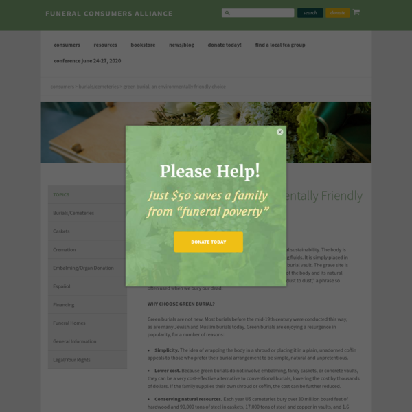 Green Burial, An Environmentally Friendly Choice - Funeral Consumers Alliance