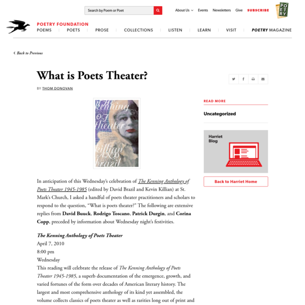 What is Poets Theater? by Thom Donovan | Poetry Foundation